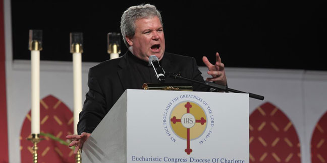 Father Jeff Kirby gives fiery address as Eucharistic Congress opens